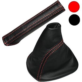 Aerzetix Soufflet levier de vitesse et frein /à main en 100/% CUIR v/éritable avec coutures//surpiq/ûres rouges