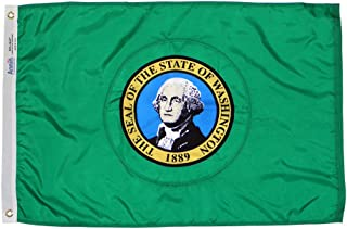 Annin Flagmakers Model 145770 Washington State Flag 4x6 ft. Nylon SolarGuard Nyl-Glo 100% Made in USA to Official State Design Specifications.