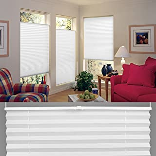 "Tong Hao Pleated Blind for Clamping Opaque Folding Blind,Easy Installation Light Filtering Blinds White 23.6""(W)×35.4""(H)"