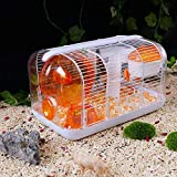 Pet supplies Fundación de hámster Jaula de Cristal con el Funcionamiento de la Bola de hámster Súper Gran Villa Transparente Viendo Jaula Hamster Jaula (Color : Orange)