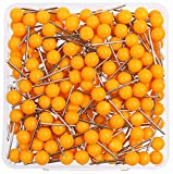 AnMiao Star 1/8 Inch Map Tacks, Push Pins, Plastic Round Head, Steel Point, 100-Count, Orange Colors