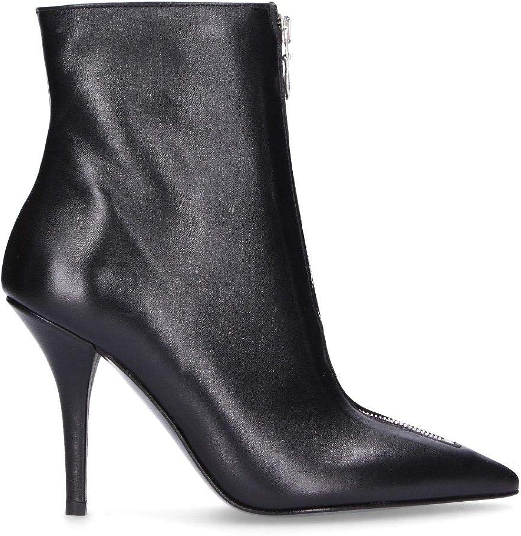 DI LUNA Women's C2973BLACK Black Leather Ankle Boots