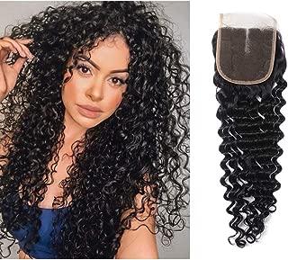 Brazilian Virgin Curly Hair Lace Closure Deep Wave 4x4 Lace Closure Middle Part 8 inch deep Hair Closure Natural Black Color