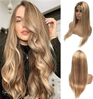 Straight Lace Front 13X1X4 T Part Pre Plucked Glueless Highlighted Silk Straight Brazilian Human Hair Wigs Glueless 150% D...