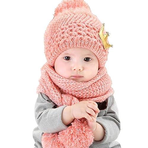 a07476982f5f casquettes de Bébé, Yogogo Mignonne bébé Filles Garçons Laine d hiver  chaude Écharpe +