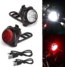 About1988 LED Fahrradlicht, USB Wiederaufladbare Fahrradbeleuchtung Fahrradlicht, Wasserdicht Fahrradlichter Set Fahrrad Licht Fahrradlampe mit 5 Licht-Modi B