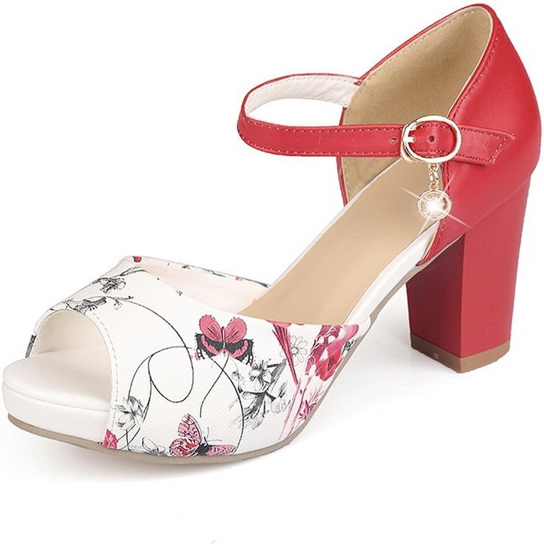BalaMasa Womens Animal-Print Peep-Toe Soft Material Sandals