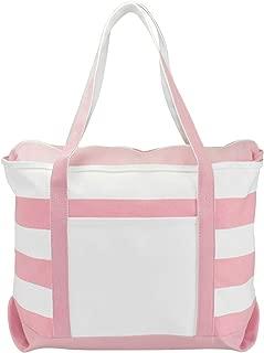 DALIX Striped Boat Bag Premium Cotton Canvas Tote in Pink