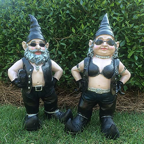 Biker Garden Gnome Statue,Resin Motorcycle Garden Gnome Art Sculptures Novelty Couple Decor Outdoor Figurines Lawn Decor,Yard Art Garden Figures Statues for Living Room Balcony-Men + women 12x5x3cm(4.