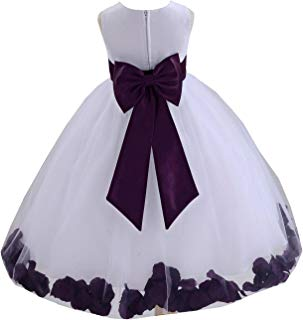 ekidsbridal Wedding Pageant Flower Petals Girl Dress with Bow Tie Sash 302a