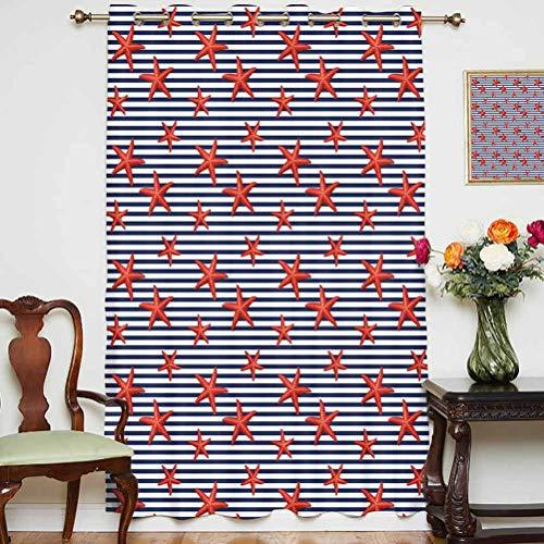 Cortinas opacas con diseño de estrellas de mar, diseño de estrellas de mar, color rojo, cortinas estampadas, panel individual de 160 x 213 cm, para puerta de cristal, color azul marino, blanco y rojo