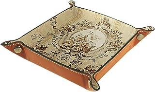 Boîte de rangement carrée en cuir PU pour table à dés, jeux, clés, portefeuille, pièces de monnaie, plateau de bureau, pla...