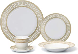 Royalty Porcelain 5-pc Classic Gold Rim 'Gold Greek' Dinner Set for 1, 24K Gold, Premium Bone China