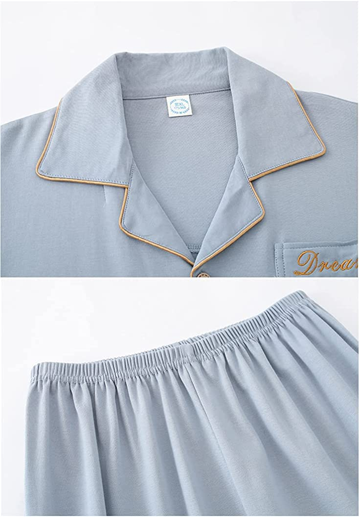 Wowcarbazole Men's Cotton Pajamas Set Button Down Sleepwear Short Sleeve Tops and Long Pants Loungewear