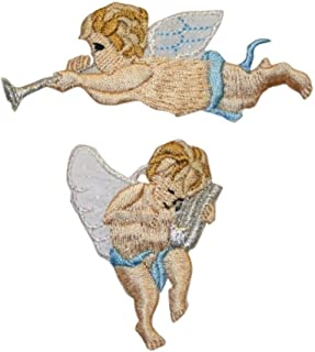 ID 0159BC Set of 2 Angels Patch Playing Music Embroidered Iron On Badge Applique