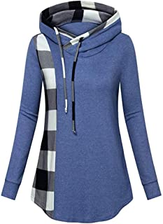WILLBE Women's Tops Plaid Sweatshirt Hooded Blouse Pullover Buttons Plaid Patchwork Asymmetry Long Tunic Ladies Blouse