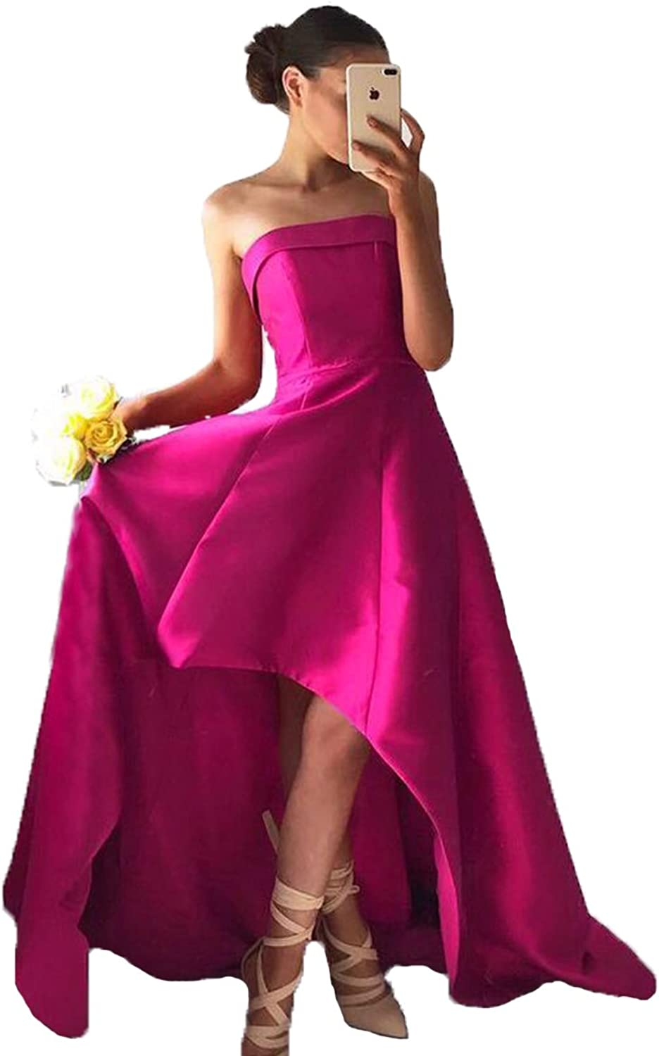 XingMeng Strapless Satin High Low Prom Homecoming Bridesmaid Dresses for Women