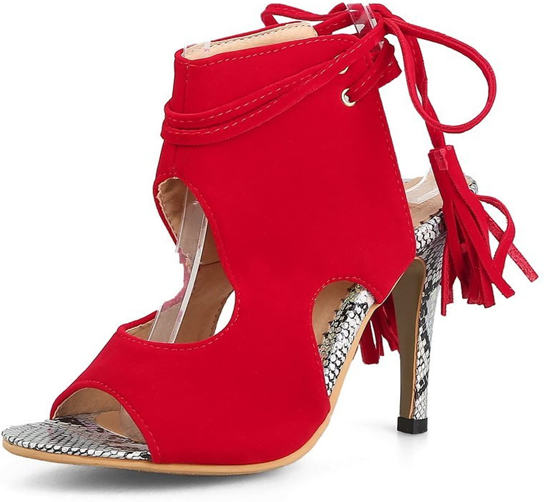 BalaMasa Womens Solid Dance-Ballroom Fringe Urethane Sandals ASL05548