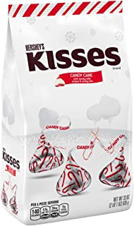 HERSHEY'S Kisses Christmas Candy Cane Chocolate Mint Candy with Peppermint Stripes