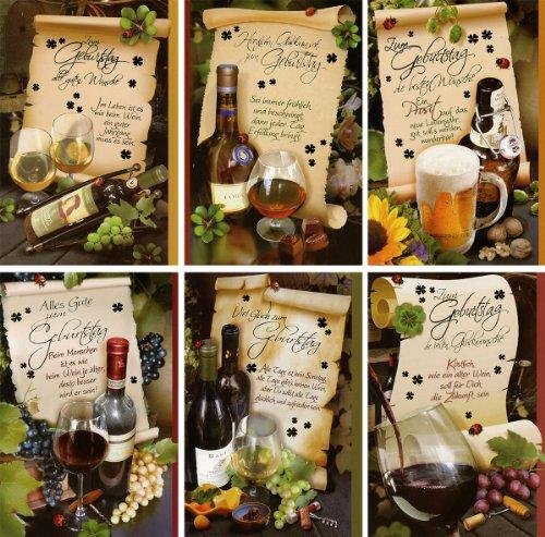 50 Geburtstagskarten Männer Sprüche Wein Cognac Bier Grußkarten Glückwunschkarten Geburtstag Klappkarten mit 50 Umschlägen 51-6320