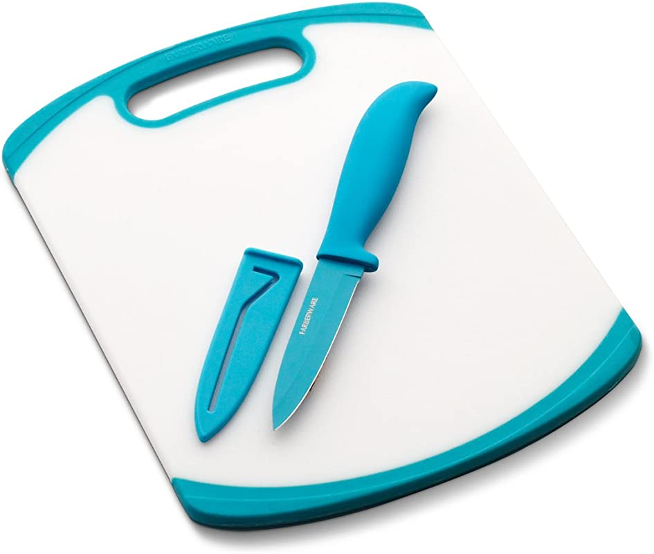 Farberware Paring Knife And Cutting Board Set White Blue