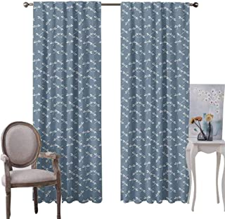 GUUVOR Dragonfly Room Darkened Heat Insulation Curtain Tropical Wildlife Pattern Japanese Style Oriental Nature Inspired Pattern Living Room W84 x L108 Inch Slate Blue White