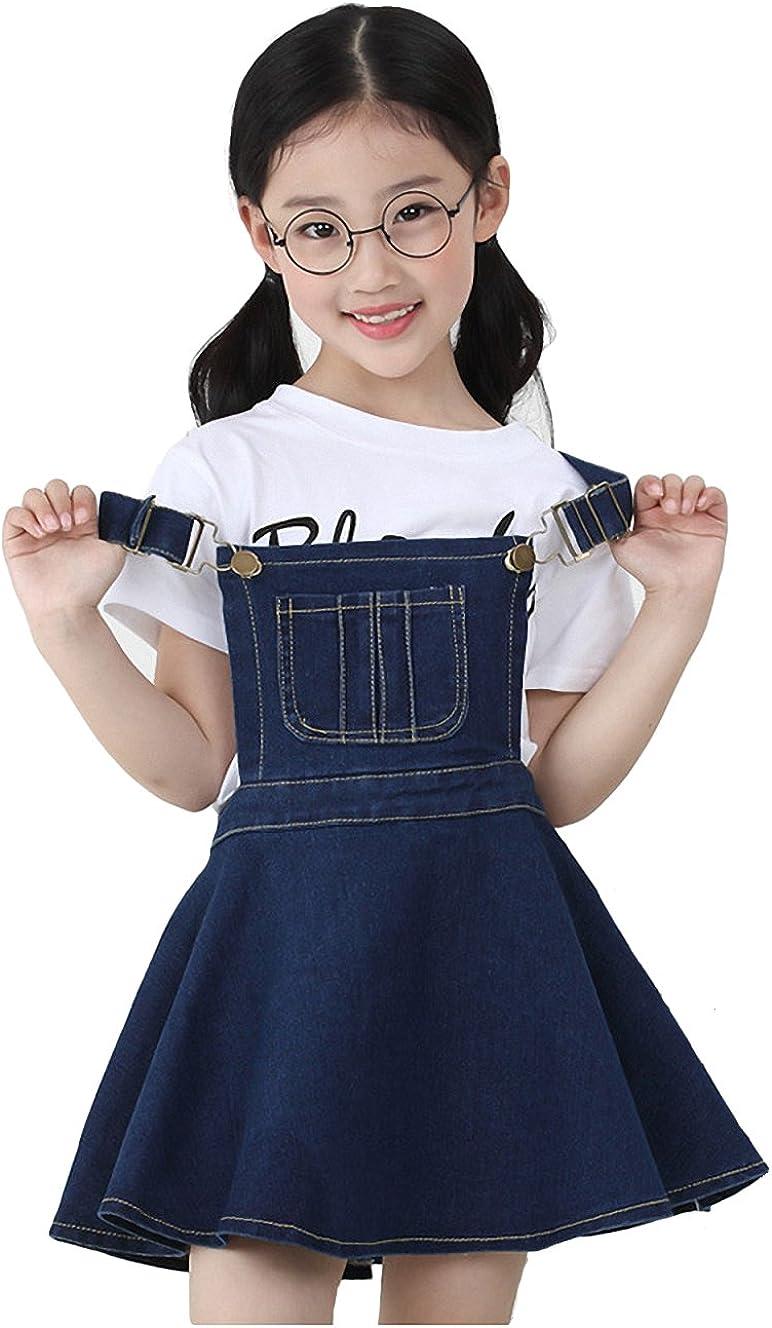 KIDSCOOL SPACE Little Girls Jean Overall Dress,Ripped Adjustable Denim Jumpers
