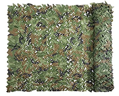 Senmortar Camo Netting, Camouflage Net Military Nets Lightweight Durable Without Grid for Sunshade Decoration Hunting Blind Shooting (Woodland, 1.5 x 3 M = 5 X 9.8 FT)