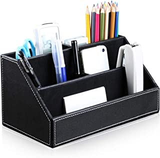 Bargain Crusader Black PU Leather Remote Controller Holder TV Guide CD DVD Controller Organizer Desk Caddy Stationery Organizer Caddy Stationery Holder (L:9.45 x W:5.3 x H:4.3/1.6 inches, Black)