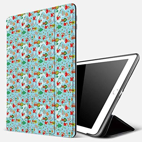 Funda iPad 10.2 Inch 2018/2019,Fantasía, Ilustración temática de Cuento de Caperucita Roja y Big Bad Wold en The Forest, Multicolor,Cubierta Trasera Delgada Smart Auto Wake/Sleep