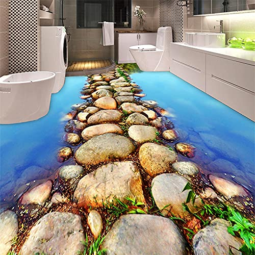 HGFHGD PVC autoadhesivo impermeable 3D suelo azulejos papel tapiz moderno río piedra murales fotográficos baño cocina 3 D suelos papeles de pared