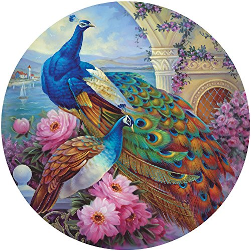 Bits and Pieces 500 Stück Runde Puzzle für Erwachsene Marvelous Garten 500 Pc Schönen Pfau Runde Puzzle von Künstlern Oleg Gavrilov