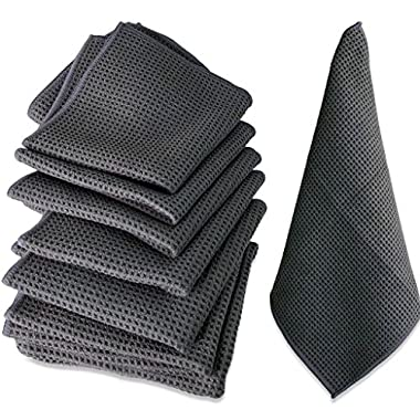 WaffleTuff Microfiber Cleaning Towels - 12  x 12  - 4 Pack & 8 Pack Offered - Clean Without Soap - Cleans Kitchen - Bathroom - Car - Workroom - Waffle Texture Scrubs Without Scratching