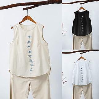 Tickas Women Blouse,Fashion Women Irregular Blouse Plus Size Tank Tops Casual Cotton Linen Sleeveless Floral Print Summer Tee Tunic Basic Tops Khaki/White/Black