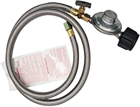 MENSI Propane Grill Shut-Off Control Regulator Valve with 4FT Braided Flexible Hose (QCC1 Type 4FT Low Pressure Valve with Shut-Off Valve)