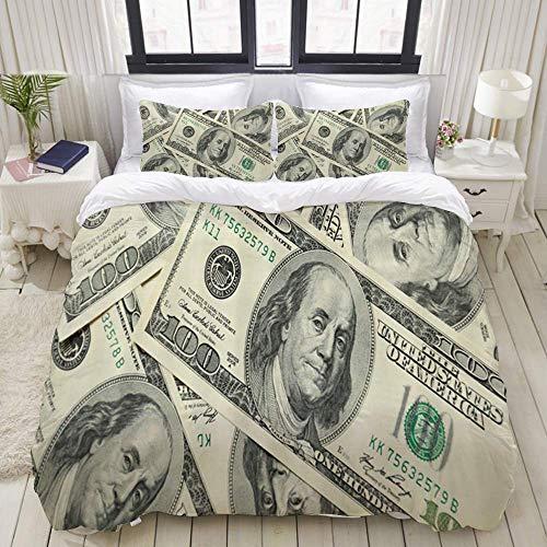 Funda nórdica, Estados Unidos Vintage Cien Dinero Símbolo Dólar, Juego de Cama Juegos de Microfibra de Lujo Ultra cómodos y livianos