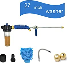 Hydro Jet High Pressure Glass Washer - 27'' Extendable Power Car Washer Wand, Garden Water Hose Attachment Nozzle, Pliable Auto Washer and Watering Sprayer, Window Cleaning with Foam Cannon, 2 Tips