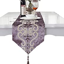 Purple pattern flock velvet embroidered tassel home decorative party gift table runner 72 inch approx