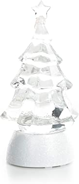 "8.5"" Glitter Christmas Tree - Light Up Snow Globe Decor - White"