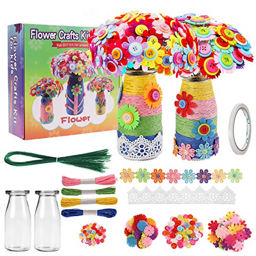Herefun DIY Florero con Ramo, Kit de Manualidades para niños, DIY Florero Creatividad, DIY Craft Kit Botones y Flor Manualidades, Divertido Crafting Kit para Niño Niñas