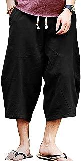 Mens Casual Baggy Cotton Linen Pocket Lounge Harem Pants Beach Long Shorts