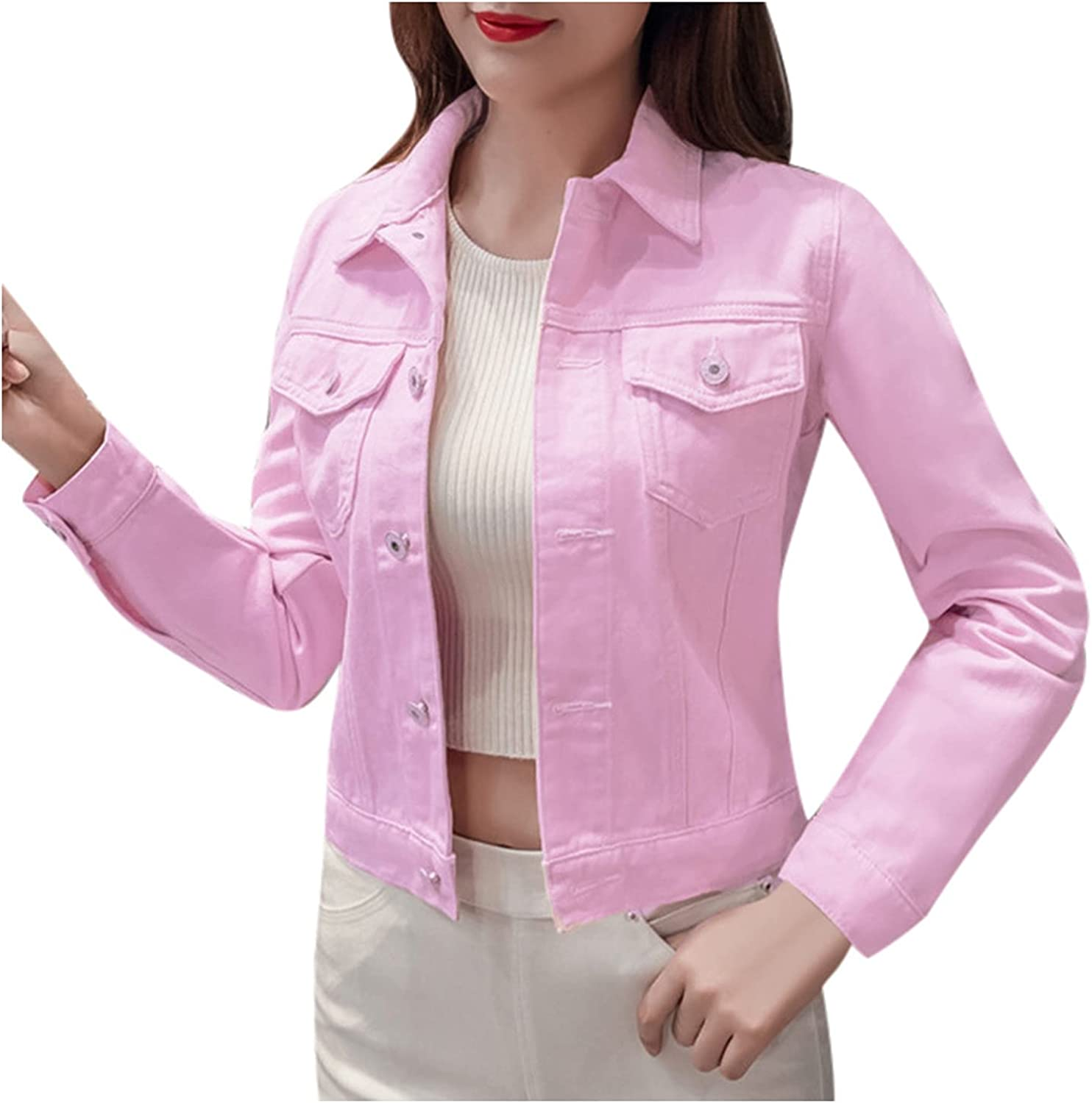 Denim Jacket for Women Fashion Color Cas Max Quality inspection 83% OFF Button Coat Solid