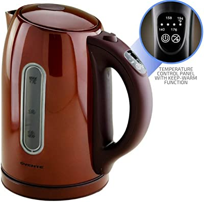 Ovente KS88BR 1.7 Liter BPA Free Temperature Control Stainless Steel Cordless Electric Kettle with Keep Warm Function, Chocolate Brown