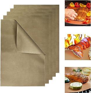 DECARETA 5 PCS Tapis de Grille pour Barbecue Tapis Barbecue Cuisson Tapis de Cuisson pour Barbecue Antiadhésif Tapis BBQ 3...