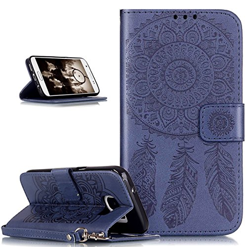 Coque Galaxy S7 Edge,Etui Galaxy S7 Edge, ikasus® Coque Galaxy S7 Edge Bookstyle Étui Housse en Cuir Case, Motif Gaufrage Feather Campanula Dreamcatcher Etui Housse Cuir PU Portefeuille Folio Flip Case Cover Wallet Coque Protection Étui avec Flex Soft Silicone TPU et Fonction Support Fermeture Aimantée Carte de crédit Logement Poches Case Coque Housse Étui pour Samsung Galaxy S7 Edge - Bleu marin