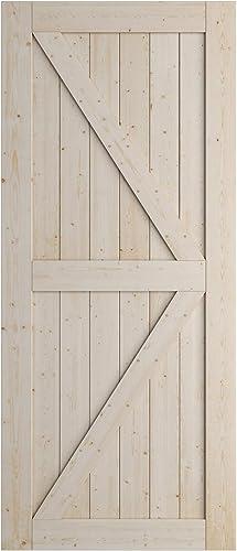 lowest SmartStandard 36in x 84in Sliding Barn Wood Door Pre-Drilled Ready to Assemble, DIY Unfinished Solid outlet online sale Spruce Wood Panelled Slab, Interior sale Single Door Only, Natural, K-Frame (Fit 6FT-6.6FT Rail) sale