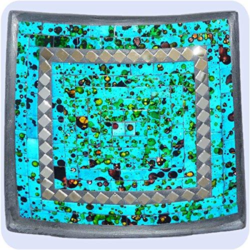 Simandra Mosaikschale Tonschale Glasschale Dekoschale Mosaik Kunsthandwerk Glassteine Deko Quadrat Spiegel mittel Color Blau