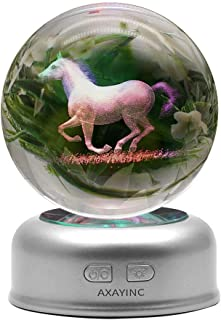 AXAYINC 3D Crystal Ball Night Light with Stand 7 Colors Change for Kids Baby Bedroom Decor Birthday Gift(Horse)