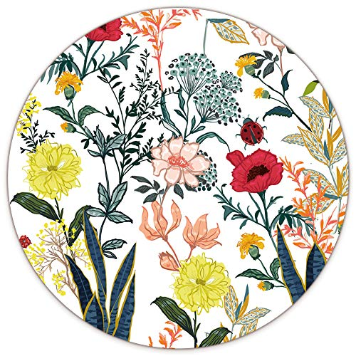 AUDIMI Floral Mouse Pad Botanical Design Large Round Mouse Mat Non-Slip Rubber Base for Laptop PC Office Working Gaming 8.7 x 8.7 x 0.12 inches