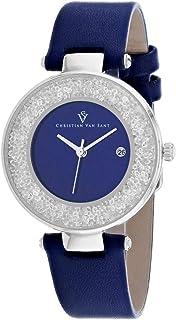 Christian Van Sant Women's Dazzle Stainless Steel Quartz Leather Strap, Blue, 16 Casual Watch (Model: CV1222)